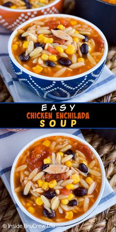 Easy Chicken Enchilada Soup – this easy chicken soup is loaded with meat, veggies, and pasta. It is a great comfort food meal to make on cold nights. Easy Soup Recipes, Dinner Recipes, Cooking Recipes, Healthy Recipes, Chicken Recipes, Chowder Recipes, Healthy Foods, Yummy Recipes, Dinner Ideas