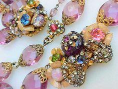 Vintage Miriam Haskell  pearl, rhinestone & Glass Bead Necklace & Bracelet Set #MiriamHaskell