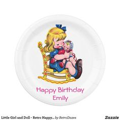 Little Girl and Doll - Retro Happy Birthday