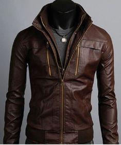 Men's Leather Jackets Korean Style Casual Slim Fit Biker leather jacket men #Handmade #BasicJacket