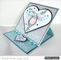 crazy kats by Penny Black - love the color, the heart, the swirl at bottom