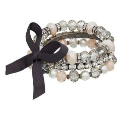 Simply Vera Vera Wang Beaded Multi Strand Bow Stretch Bracelet (115 BOB) ❤ liked on Polyvore featuring jewelry, bracelets, pink, beaded bangles, bead jewellery, imitation pearl jewelry, imitation jewellery and pearl jewelry