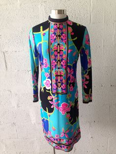 Vintage Mr Dino by Max Cohen Signed Psychedelic Floral Shift Dress 60s