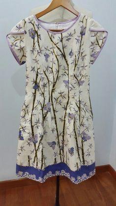 Teacup dress made from batik tulis lasem for custom order. Dress is made by Dongengan (Facebook: https://m.facebook.com/dongengan)