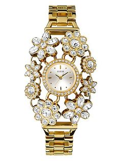 Yellow Gold-Tone Crystal Bouquet Watch | GUESS.com