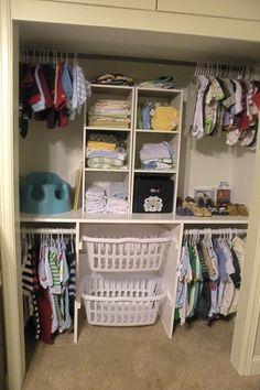 Closet organization. Like the laundry basket idea. @ MyHomeLookBookMyHomeLookBook
