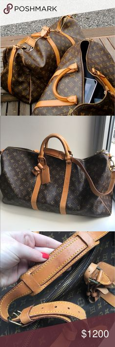 Louis Vuitton Keepall Bandouliere 55 with strap Comes with strap and luggage tag.  Shows wear on handle and leather trim and wrinkling and cracking along leather strap sides. Louis Vuitton Bags Luggage & Travel Bags