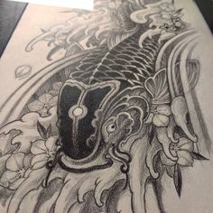 【veratattoo】さんのInstagramをピンしています。 《It's fascinating to see your koi's evolve over time. #irezumicollective #irezumi #koi #koifishtattoo #sketch #2b #fineart #drawing #htx #sakuras #cherryblossoms #flowers #waves #water #sushi #houston #tx #waterfall #manga #anime #print #dbz #jdm #eg6》
