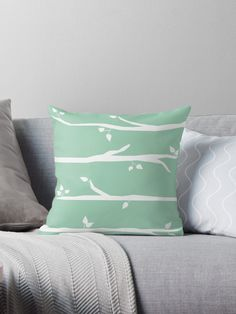 Very minimal and modern pattern for stylish homes. Love this pastel mint green color Minimal Style, Minimal Fashion, Pastel Mint, Tree Patterns, Designer Throw Pillows, Pillow Design, Green Colors, Mint Green, Minimalism