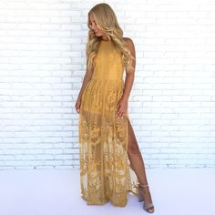 f43c0dd4158 Lace Against Time Maxi Dress in Mustard - Dainty Hooligan Boutique Lace  Maxi Romper