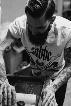 Ricki Hall full thick very dark beard and mustache beards bearded man men mens' style hair hairstyle tattoos tattooed ink #beardsforever