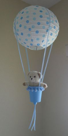 Blue Polka Dots Hot Air Balloon by RainbowCuties on Etsy, $25.00      Cute for baby shower decoration.