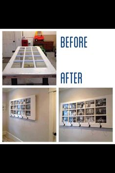 Repurpose an old door with pictures. Have a specific hook for each family member with their pictures above it!