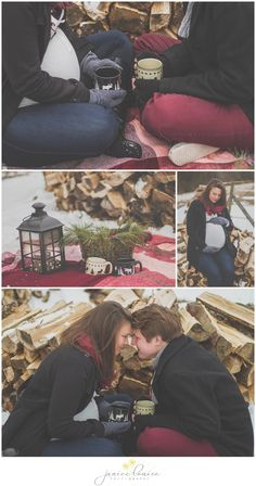Janice Louise Photography | Delaware Portrait Photographer | Winter Maternity Session with snow, blanket, wood, lantern, & coffee mugs.