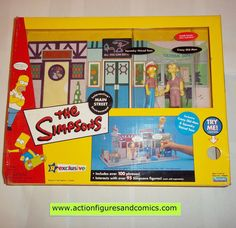Playmates toys THE SIMPSONS World of Springfield action figures 2002 20 inch MAIN STREET playset with squeaky voiced teen & crazy old man Toys R Us exclusive New - Still factory sealed in the original