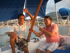 "More about Puerto Vallarta, Jalisco. Click here: http://www.puertovallarta.net/ #puertovallarta #vallarta #thingstodo #beaches #jalisco #mexico - Captain Chuy and Miguel (ship mate) on ""Maxine""- our sunset sailing tour."