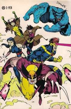 X-Men - Wolverine, Psylocke, Cyclops, Gambit, Beast and Rogue - Marvel Comics- Jim Lee Hq Marvel, Marvel Comics Art, Marvel Heroes, Captain Marvel, Comic Book Characters, Marvel Characters, Comic Character, Comic Books Art, Psylocke