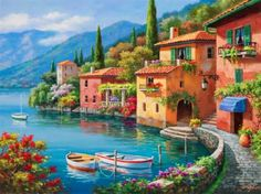 Beautiful coastal town - lake, calm, nice, dock, shore, flowers, slope, village, river, pretty, clouds, mountain, pier, houses, sky, boats, lovely, cabin, beautiful, riverbank, peaceful, colorful, town, villas, sea, summer, painting, coast, cottages