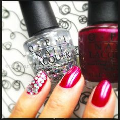 OPI I Snow You Love Me Glitter w OPI Cute Little Vixen_OPI Mariah Carey Holiday 2013_mani and photo by Karen Falcon