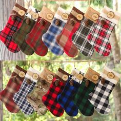 e45cfc1399d Set of 5 Flannel Christmas Stockings Ticking Fabric Stocking Personalized  Wood Slice Name Tag Redwoo