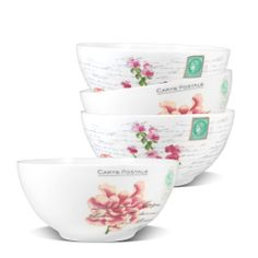 French Chrysanthemum Set of Bowls -  Christopher Vine Design's bowl sets are a must for all households. Eat from the highest quality bone china with quirky designs!  Safe for Dishwasher and Microwave use.  - 4 Bowls per set. Price - $39.95 AUD  - 15.5cm D