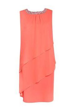 Coral Embellished Tiered Dress Elegance #WallisEscapes
