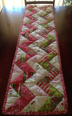 Chevron Quilted Christmas Table Runner Would love to do a double sided with fall on the other side.
