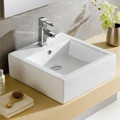 Found it at Wayfair - Modern Vitreous Square Modern Vessel Bathroom Sink with…