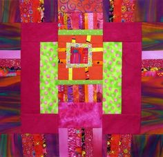 Six of six completed large quilt blocks, each a piece of art on its own.