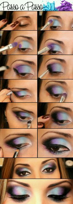 36 Ideas Diy Makeup Tutorial Step By Step Colorful Eyeshadow For 2019 Love Makeup, Diy Makeup, Makeup Art, Makeup Tips, Beauty Makeup, Makeup Ideas, Purple Makeup, Black Makeup, Dress Makeup
