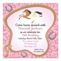 Western Cowgirl Horse Party Invitation for a little girl's country style birthday - in pink!