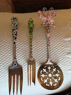 Vintage flatware blingified