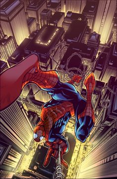 Revisited Spider-man City Swinging Color by Paris Alleyne, Lines by Zach Howard