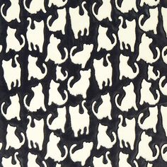 0 white cats silhouettes pattern on black