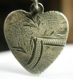 Love Token Heart Shaped Expertly Hand Engraved Antique Silver Charm | eBay
