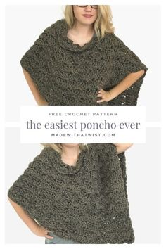 Crochet poncho 139259813464306378 - Finish this garment in one sitting! Fast, easy, and adjustable, this is the perfect crochet poncho pattern for craft fairs and gifts and will become your favorite poncho to work up in a jiffy. Source by nickiscrafts Crochet Shawls And Wraps, Crochet Scarves, Crochet Clothes, Crochet Hooks, Crochet Sweaters, Knitted Shawls, Crochet Dresses, Easy Crochet, Knit Crochet