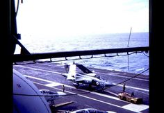 Joint ops in the Caribbean with HMS Ark Royal 1972 Hms Ark Royal, Navy Aircraft Carrier, Flight Deck, United States Navy, Royal Navy, Roosevelt, Military Aircraft, Wwii, Airplane View
