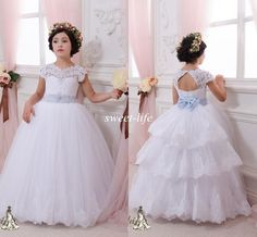 Lace Ball Gown Flower Girl Dresses 2015 Cheap Sky Blue Sash Floor Length Keyhole Back Wedding Party Communion Kids Gowns Girls Pageant Dress Online with $81.28/Piece on Sweet-life's Store   DHgate.com