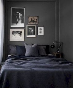 Youngsters Area Home Furnishings 10 Dark Bedroom Walls - Via Dark Bedroom Walls, Home Bedroom, Bedroom Decor, Dark Walls, Bedroom Ideas, Bedroom Inspiration, Bedroom Furniture, Wall Decor, Charcoal Bedroom