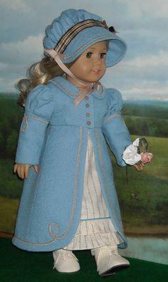 1812 Regency Blue Wool Pelisse, Bonnet and Dress for 18 inch Dolls