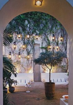 romantic courtyard | falling vines, dim lights + white lounge area