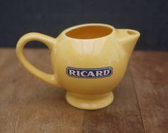 """Ricard Mini Pichet Jaune 1970s . Vintage French Mini individual RICARD Pastis Pitcher Jug 3,5"""" . Rétro Bar, Café Français, Bistrot de la boutique LaMachineaBrocantes sur Etsy"""