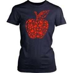 Teacher - Apple Hearts - District Made Womens Shirt / White / S - 1