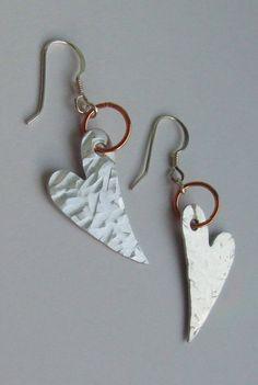 Hammer Textured Aluminium & Copper Heart Drop Earrings