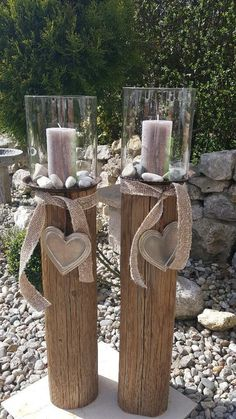 Lantern wooden lantern candle wooden beams glass natural wood design in Bavaria – Waldk … - All For Lamp İdeas Garden Lanterns, Christmas Lanterns, Candle Lanterns, Diy Candles, Wooden Candle Holders, Lantern Candle Holders, Unique Garden, Verre Design, Diy Fireplace