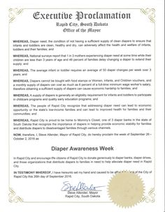 RAPID CITY, SD - Mayoral proclamation recognizing Diaper Need Awareness Week (Sep. 26-Oct. 2, 2016) #DiaperNeed Diaperneed.org