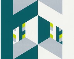 Sample Stylish Shapes Wallpaper in Grey and Green design by BD Wall