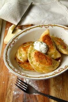 Potato and aged cheddar pierogis