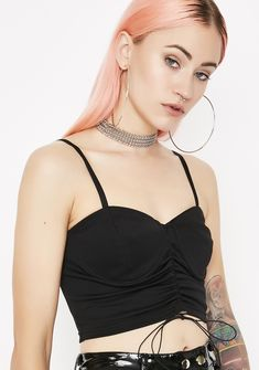 Black Cinched Crop Cami Top | Dolls Kill