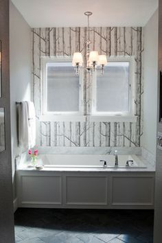 Mill Site House by Judith Balis: Cole & Son, Birch, carrara, wallpaper, soaker tub